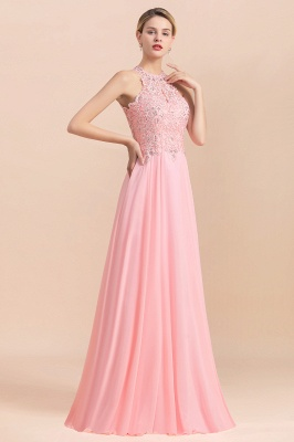 A-line Pink Pears Beaded Halter Bridesmaid Dresses_15