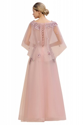 Chic Dusty Pink Tulle Prom Dress Long Short Sleeve Evening Gowns Online_9