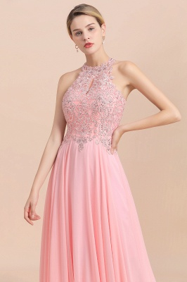 A-line Pink Pears Beaded Halter Bridesmaid Dresses_20