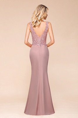 Dusty Pink Mermaid Lace Prom Dress Long Sleeveless Evening Gowns_6