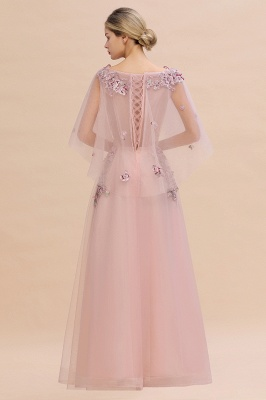 Chic Dusty Pink Tulle Prom Dress Long Short Sleeve Evening Gowns Online_12