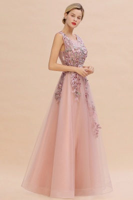Gorgeous Dusty Pink Tulle Prom Dress Long With Lace Appliques_2