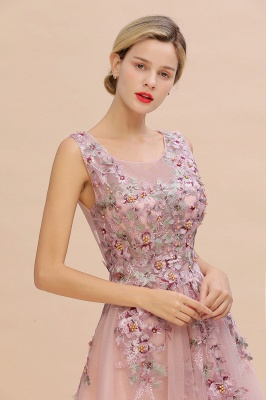Gorgeous Dusty Pink Tulle Prom Dress Long With Lace Appliques_5