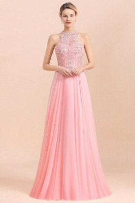 A-line Pink Pears Beaded Halter Bridesmaid Dresses_22