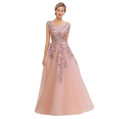 Gorgeous Dusty Pink Tulle Prom Dress Long With Lace Appliques_10