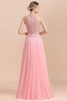 A-line Pink Pears Beaded Halter Bridesmaid Dresses_18