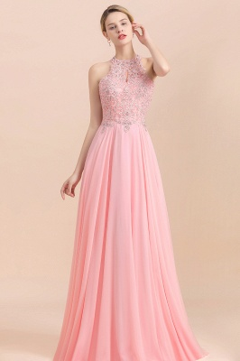 A-line Pink Pears Beaded Halter Bridesmaid Dresses_16