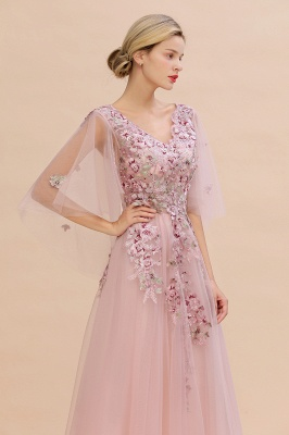 Chic Dusty Pink Tulle Prom Dress Long Short Sleeve Evening Gowns Online_4