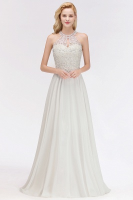 A-line Pink Pears Beaded Halter Bridesmaid Dresses_1