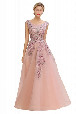 Gorgeous Dusty Pink Tulle Prom Dress Long With Lace Appliques_7