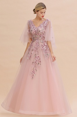 Chic Dusty Pink Tulle Prom Dress Long Short Sleeve Evening Gowns Online_2