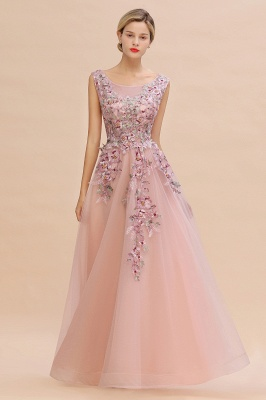 Gorgeous Dusty Pink Tulle Prom Dress Long With Lace Appliques_4