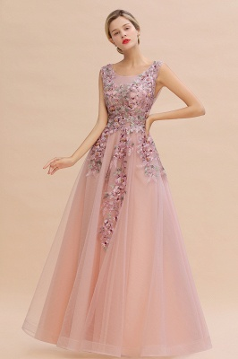 Gorgeous Dusty Pink Tulle Prom Dress Long With Lace Appliques_1