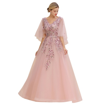 Chic Dusty Pink Tulle Prom Dress Long Short Sleeve Evening Gowns Online_3