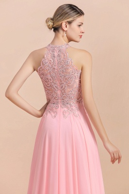 A-line Pink Pears Beaded Halter Bridesmaid Dresses_19