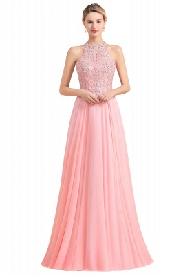 A-line Pink Pears Beaded Halter Bridesmaid Dresses_2