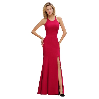 Sexy Red Halter Mermaid Prom Dress Long Evening Gowns Online_9