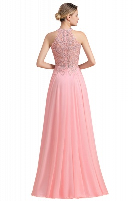 A-line Pink Pears Beaded Halter Bridesmaid Dresses_24