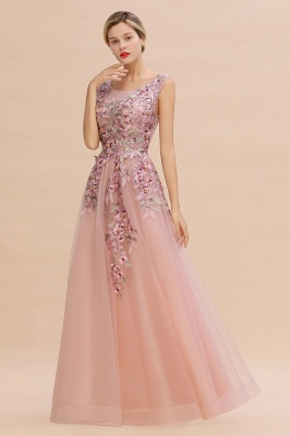 Gorgeous Dusty Pink Tulle Prom Dress Long With Lace Appliques_9