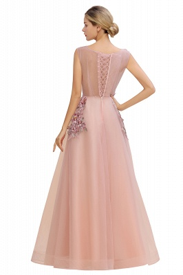 Gorgeous Dusty Pink Tulle Prom Dress Long With Lace Appliques_8