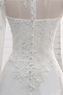White Long Sleeves Tulle Lace Wedding Dresses_7