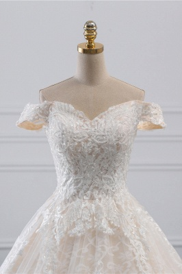 Luxury Ball Gown Off-the-Shoulder Lace Wedding Dress Sweetheart_4