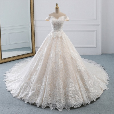 Luxury Ball Gown Off-the-Shoulder Lace Wedding Dress Sweetheart_7
