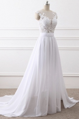 A-Line Sleeveless lace Bridal Gowns with Slit_3