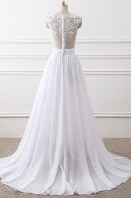 A-Line Sleeveless lace Bridal Gowns with Slit_2