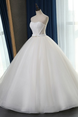Sleeveless White Tulle Strapless Sweetheart Bridal Gowns On Sale_4