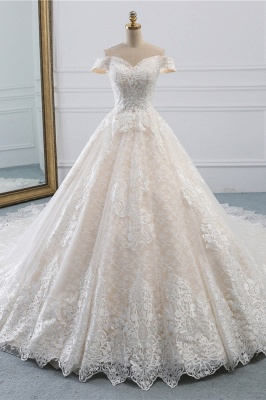 Luxury Ball Gown Off-the-Shoulder Lace Wedding Dress Sweetheart_1