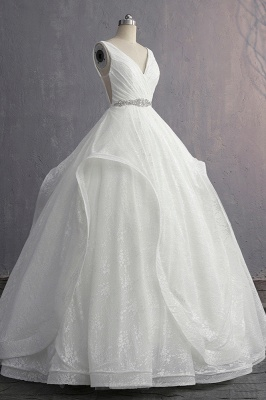 V-Neck Ruffles Lace Appliques Sleeveless Bridal Gowns_4