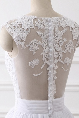A-Line Sleeveless lace Bridal Gowns with Slit_5