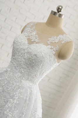 A-Line Sleeveless Appliques Tulle Lace Wedding Dresses_5