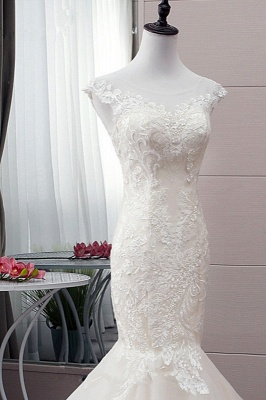 Tulle Mermaid Lace Sleeveless Iovry Wedding Dresses_4