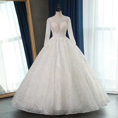Long Sleeves Jewel Appliques Ball Gown Wedding Dresses_6