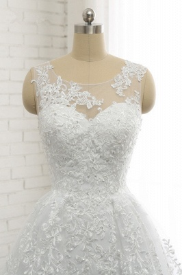 A-Line Sleeveless Appliques Tulle Lace Wedding Dresses_4