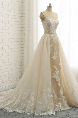 Jewel Tulle Sleeveless Overskirt Champagne Wedding Dresses_3