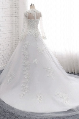 White Long Sleeves Tulle Lace Wedding Dresses_4