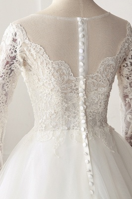 A-Line Long Sleeves Tulle Lace White Wedding Dresses_5