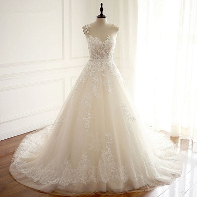 A-Line Tulle Ivory Appliques Sleeveless Bridal Gowns_6