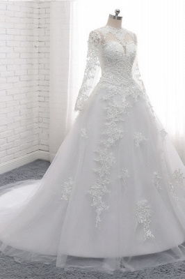White Long Sleeves Tulle Lace Wedding Dresses_3