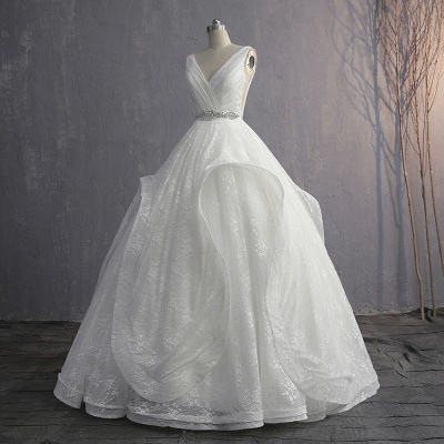 V-Neck Ruffles Lace Appliques Sleeveless Bridal Gowns_6