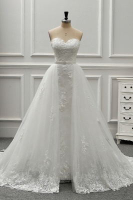 A-Line Strapless Sweetheart Tulle Bridal Gowns On Sale_1