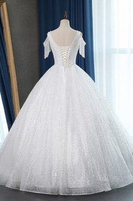 White Tulle Ball Gown Cold-Shoulder V-Neck Bridal Gowns Sequins_2