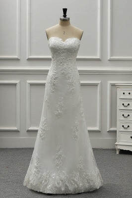 A-Line Strapless Sweetheart Tulle Bridal Gowns On Sale_4