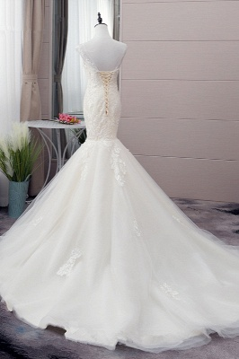Tulle Mermaid Lace Sleeveless Iovry Wedding Dresses_3