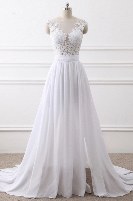 A-Line Sleeveless lace Bridal Gowns with Slit_1