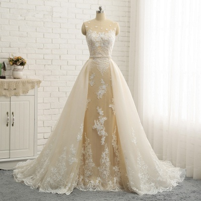 Jewel Tulle Sleeveless Overskirt Champagne Wedding Dresses_9