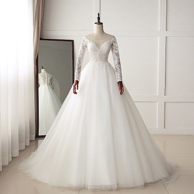 A-Line Long Sleeves Tulle Lace White Wedding Dresses_6